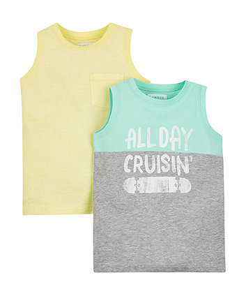 Mothercare Cruisin' Grey And Yellow Vests - 2 Pack