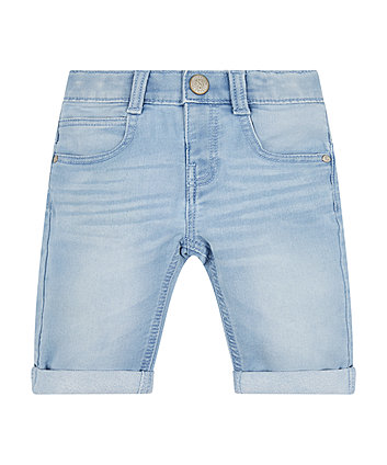 Bleach Wash Denim Shorts