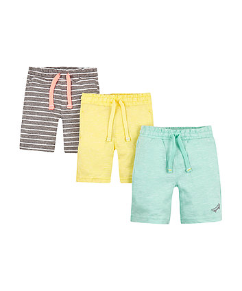Mothercare Yellow, Grey And Green Jersey Shorts - 3 Pack