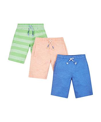 Blue, Orange And Green Stripe Shorts - 3 Pack