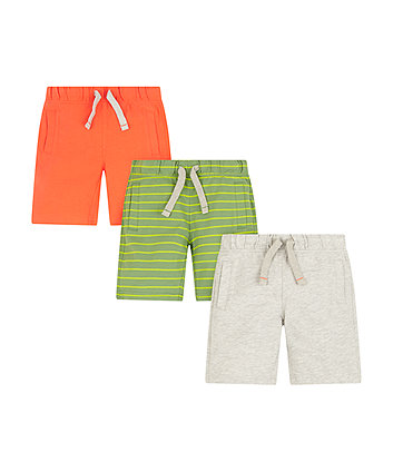 Mothercare Green, Orange And Grey Jersey Shorts - 3 Pack