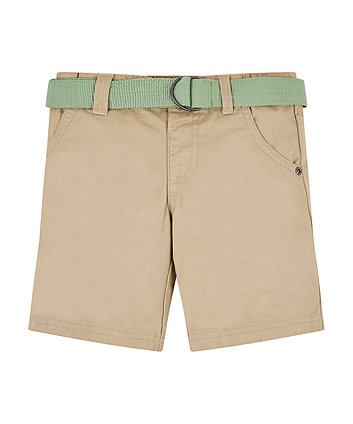 Mothercare Stone Twill Belted Shorts