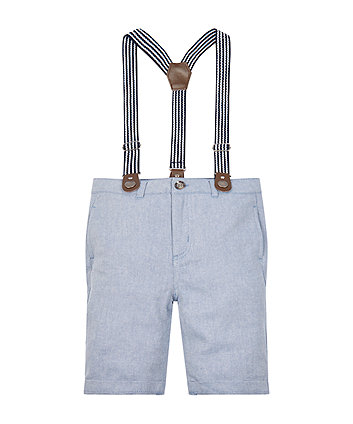 Mothercare Blue Twill Trousers With Braces