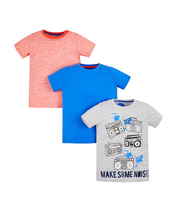 Grey, Orange And Blue T-Shirts - 3 Pack