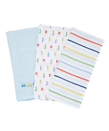 Mothercare On The Road Muslins - 3 Pack