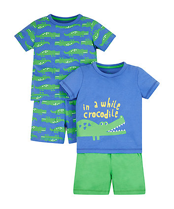 Mothercare Crocodile Shortie Pyjamas - 2 Pack
