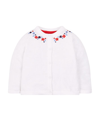 Mothercare White Embroidered Cardigan