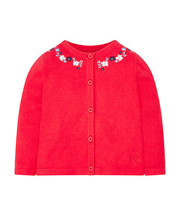 Mothercare Red Embroidered Cardigan