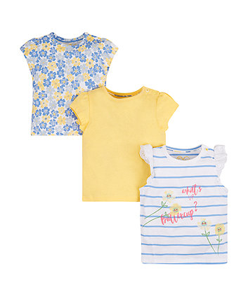 Mothercare Buttercup Striped T-Shirts - 3 Pack