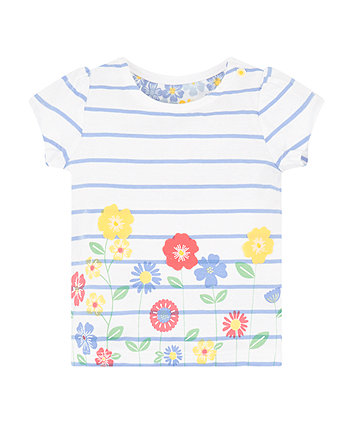 Mothercare Striped Floral T-Shirt