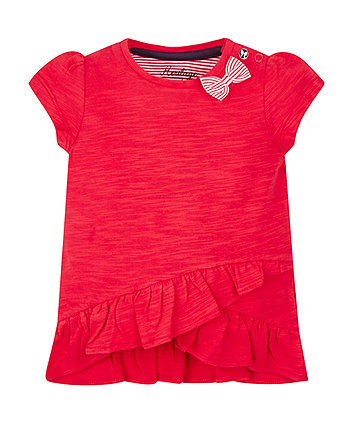 Mothercare Red Frill Hem T-Shirt