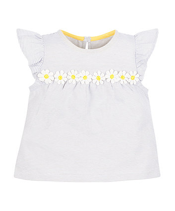 Mothercare Grey Stripe Daisy T-Shirt