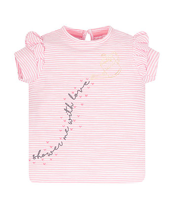 Mothercare Pink Frill Shower With Love T-Shirt