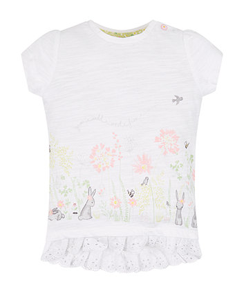 Mothercare White Frill Hem Border Print T-Shirt
