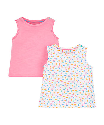Mothercare Pink Spot Tops - 2 Pack