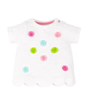 Mothercare White Pompom Scalloped Hem T-Shirt