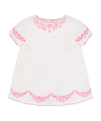 Mothercare White Embroidered Blouse