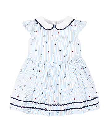 Mothercare Blue Striped Collar Dress