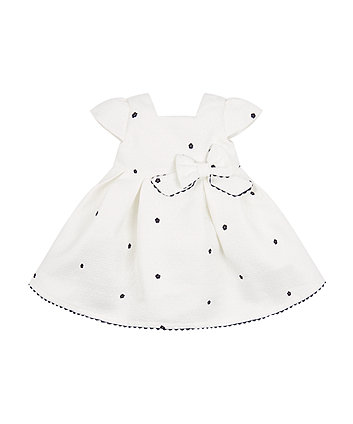 Mothercare White Jacquard Embroidered Prom Dress