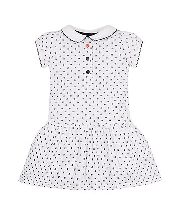 Mothercare White Floral Polo Dress