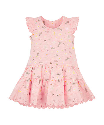 Pink Jersey Tiered Dress