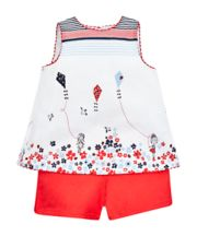 Mothercare White Kite Border Blouse And Red Shorts Set