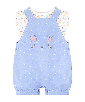 Mothercare Bunny Spot T-Shirt And Bibshorts Set