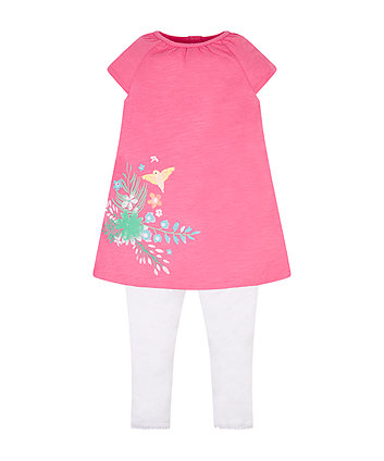 Mothercare Pink Border Print Blouse And Leggings Set