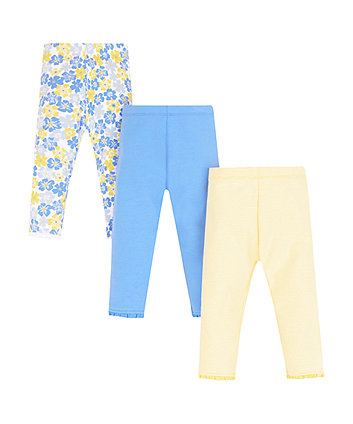 Mothercare Blue Floral Leggings - 3 Pack