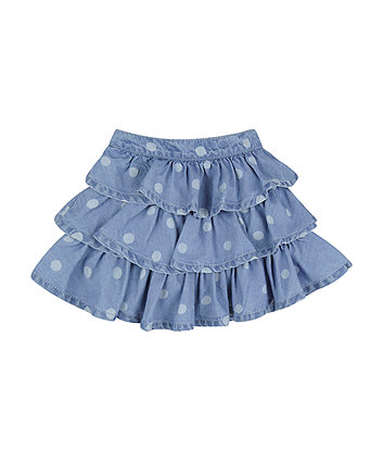 Mothercare Chambray Polka Dot Ra-Ra Skirt