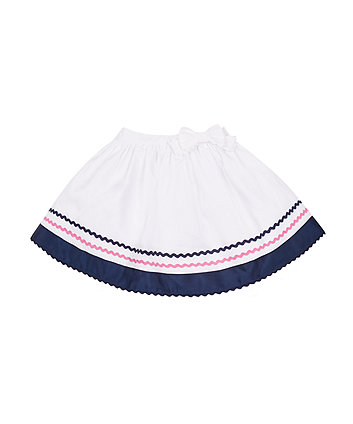 Mothercare White Pique Stripe Skirt
