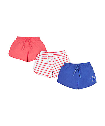 Mothercare Stripe, Coral And Cobalt Shorts - 3 Pack