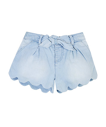 Mothercare Light Wash Denim Scalloped Shorts