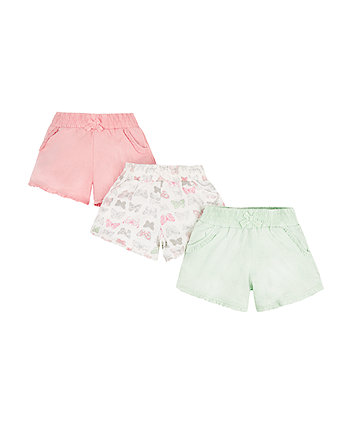 Mothercare Pink, Mint And Butterfly Shorts - 3 Pack