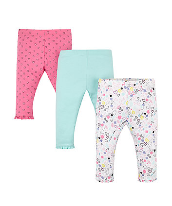 Mothercare Hearts And Unicorns Leggings - 3 Pack