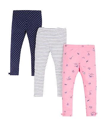 Mothercare Beach Print, Spot And Stripe Leggings - 3 Pack