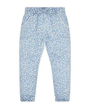 Floral Chambray Harem Trousers