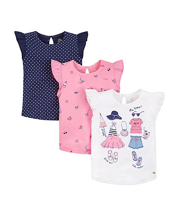 Mothercare Bon Voyage, Spot And Print T-Shirts - 3 Pack
