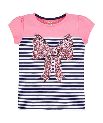 Mothercare Striped Sequin Bow T-Shirt