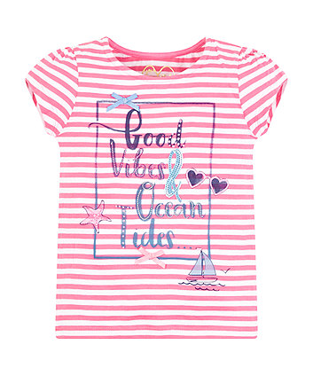 Mothercare Pink Striped Good Vibes T-Shirt