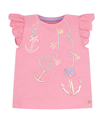 Mothercare Pink Anchor T-Shirt