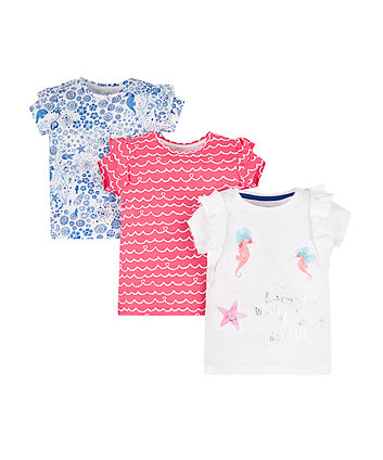 Mothercare Blue, Coral And White Seahorse T-Shirts - 3 Pack
