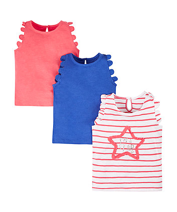 Mothercare Super Star Vest T-Shirts - 3 Pack