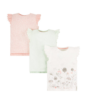 Butterfly, Pink Floral And Mint Green T-Shirts - 3 Pack