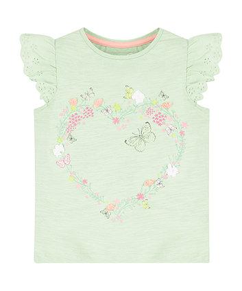 Green Flower Heart T-Shirt