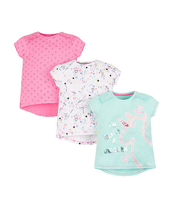 Mothercare Hearts And Unicorns T-Shirts - 3 Pack