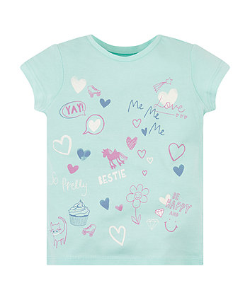 Mothercare Turquoise Doodle T-Shirt