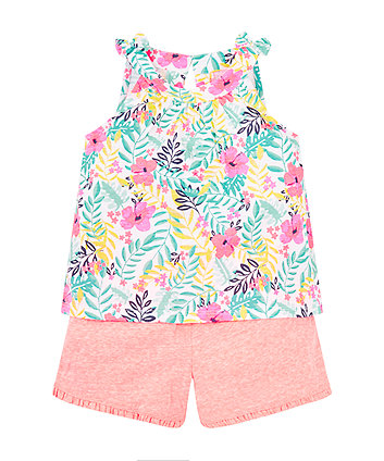 Tropical Floral Top And Shorts Set