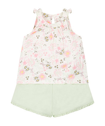 Floral Top And Shorts Set