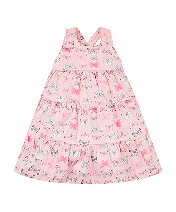Pink Butterfly Tiered Dress